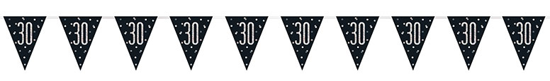 Black Glitz Age 30 Holographic Foil Pennant Bunting 274cm