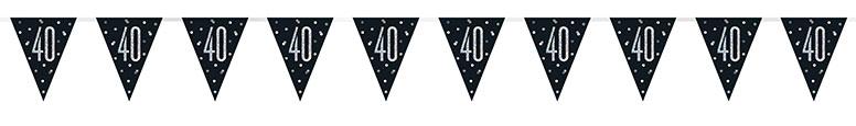 Black Glitz Age 40 Holographic Foil Pennant Bunting 274cm