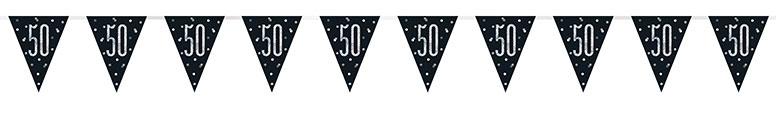 Black Glitz Age 50 Holographic Foil Pennant Bunting 274cm