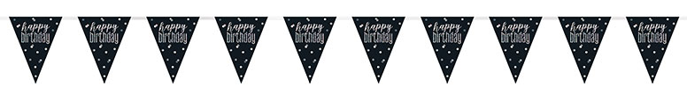 Black Glitz Happy Birthday Holographic Foil Pennant Bunting 274cm