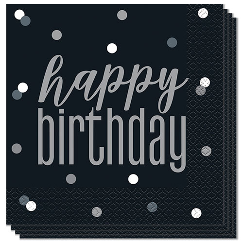 Black Glitz Happy Birthday Luncheon Napkins 33cm 2Ply - Pack of 16