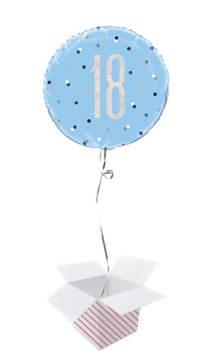 Blue Glitz Age 18 Holographic Round Foil Helium Balloon - Inflated Balloon in a Box