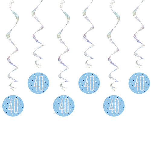 Blue Glitz Age 40 Holographic Hanging Swirl Decorations - Pack of 6