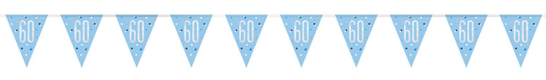 Blue Glitz Age 60 Holographic Foil Pennant Bunting 274cm