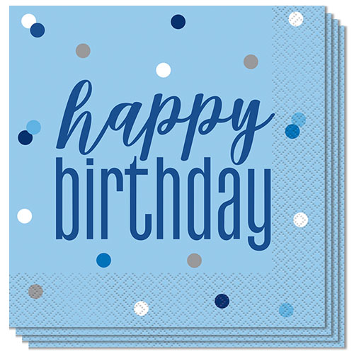 Blue Glitz Happy Birthday Luncheon Napkins 33cm 2Ply - Pack of 16