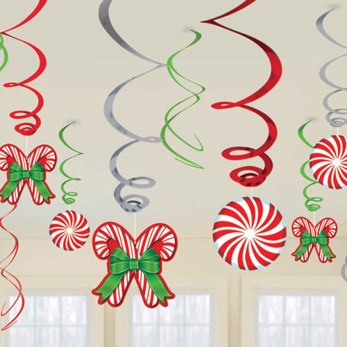 Candy Canes Christmas Hanging Swirl Decorations - Pack of 12