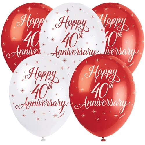 Happy 40th Anniversary Biodegradable Assorted Latex Balloons 30cm / 12 in - Pack of 5