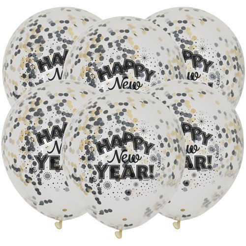 Happy New Year Clear Biodegradable Latex Balloons With Confetti - Pack of 6