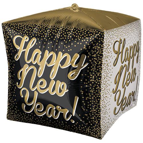 Happy New Year Cubez Foil Helium Balloon 38cm / 15 in