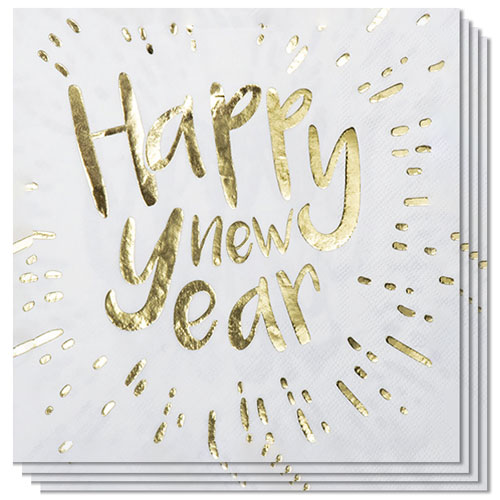 Happy New Year Gold Foiled Luncheon Napkins 33cm 2Ply - Pack of 12