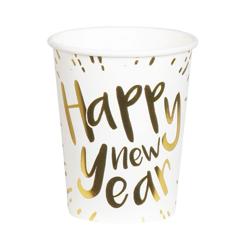 Happy New Year Gold Foiled Paper Cups 250ml - Pack of 6