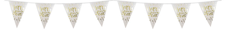 Happy New Year Gold Foiled Plastic Pennant Bunting 4m