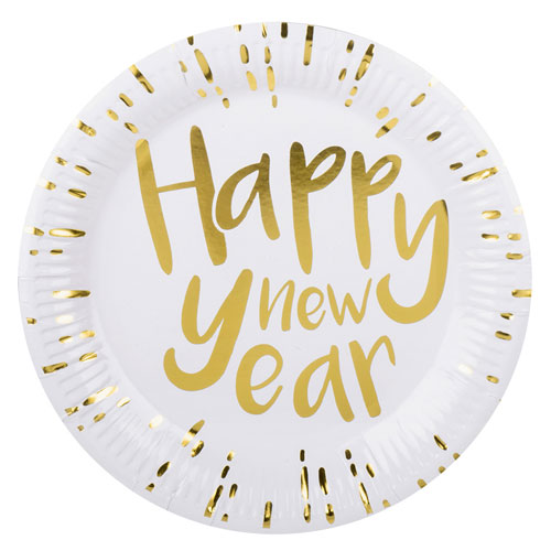 Happy New Year Gold Foiled Round Paper Plates 23cm - Pack of 6