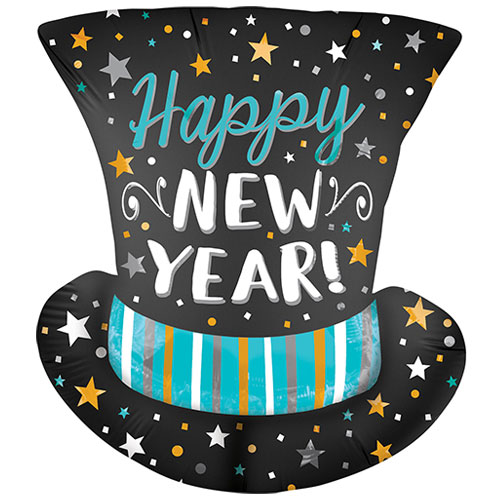 Happy New Year Satin Infused Top Hat Helium Foil Giant Balloon 60cm / 24 in