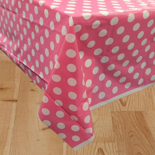 Hot Pink Decorative Dots Plastic Tablecover 274cm x 137cm