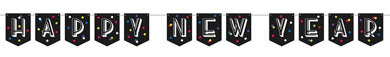 Neon Dots Happy New Year Cardboard Banner 243cm