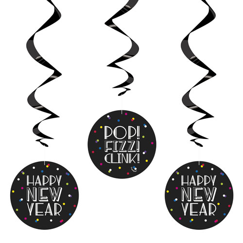 Neon Dots New Year Hanging Swirl Decorations - Pack of 3