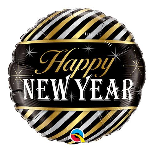 New Year Diagonal Stripes Round Foil Helium Qualatex Balloon 46cm / 18 in