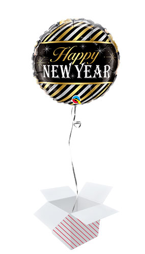 New Year Diagonal Stripes Round Foil Helium Qualatex Balloon - Inflated Balloon in a Box