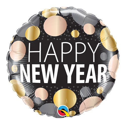 New Year Metallic Dots Round Foil Helium Qualatex Balloon 46cm / 18 in