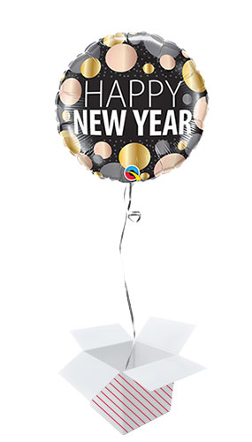 New Year Metallic Dots Round Foil Helium Qualatex Balloon - Inflated Balloon in a Box