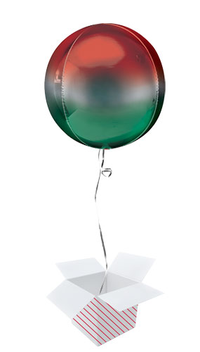 Ombre Red And Green Orbz Foil Helium Balloon - Inflated Balloon in a Box