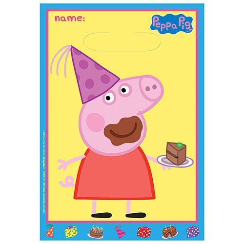 Peppa Pig Party Loot Bags - Pack of 8