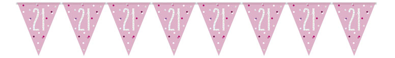Pink Glitz Age 21 Holographic Foil Pennant Bunting 274cm