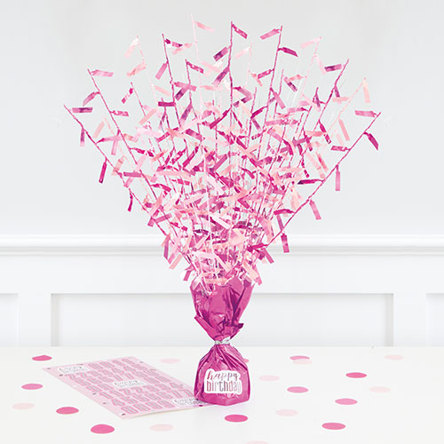 Pink Glitz Customisable Balloon Weight Centrepiece 43cm Product Image