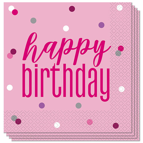 Pink Glitz Happy Birthday Luncheon Napkins 33cm 2Ply - Pack of 16
