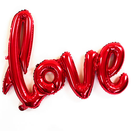 Red Love Script Air Fill Foil Balloon 76cm / 30 in Product Image
