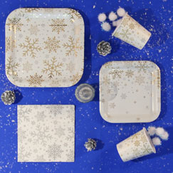 Silver And Gold Snowflakes Party Supplies