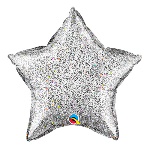 Silver Glittergraphic Star Foil Helium Qualatex Balloon 51cm / 20 in