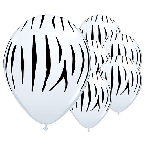 Zebra Stripes Assorted Round Latex Helium Qualatex Balloons 28cm / 11 in - Pack of 25