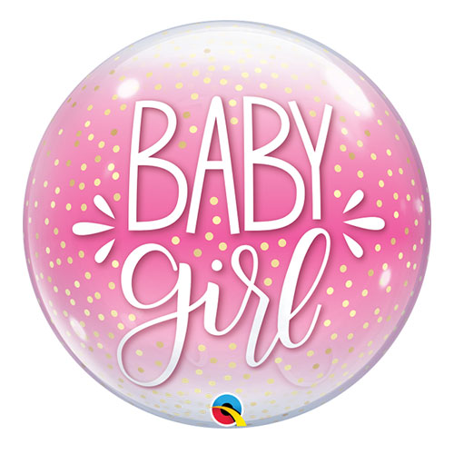 Baby Girl Confetti Dots Baby Shower Bubble Helium Qualatex Balloon 56cm / 22 in