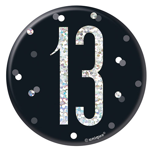 Black Glitz Age 13 Holographic Birthday Badge 7cm