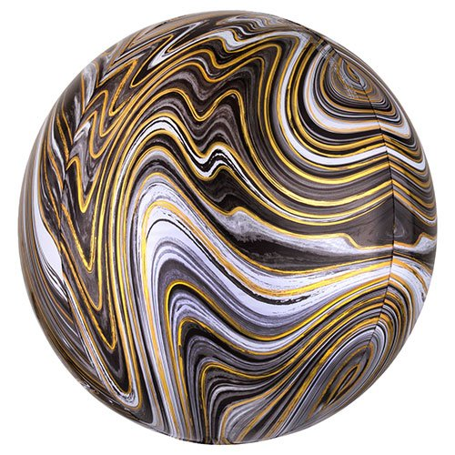 Black Marblez Orbz Foil Helium Balloon 38cm / 15 in