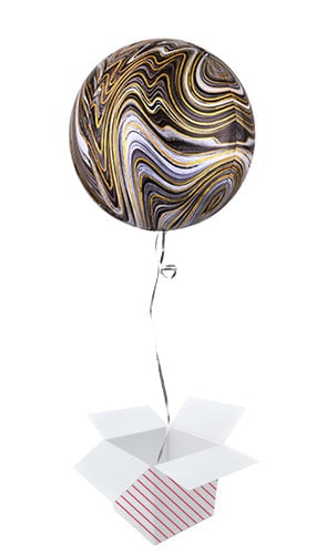 Black Marblez Orbz Foil Helium Balloon - Inflated Balloon in a Box