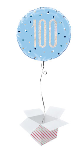 Blue Glitz Age 100 Holographic Round Foil Helium Balloon - Inflated Balloon in a Box