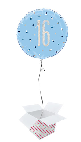 Blue Glitz Age 16 Holographic Round Foil Helium Balloon - Inflated Balloon in a Box