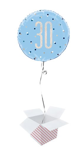 Blue Glitz Age 30 Holographic Round Foil Helium Balloon - Inflated Balloon in a Box
