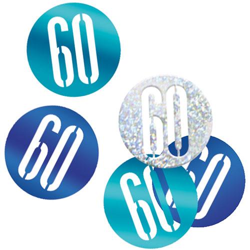 Blue Glitz Age 60 Holographic Assorted Table Confetti 14 Grams