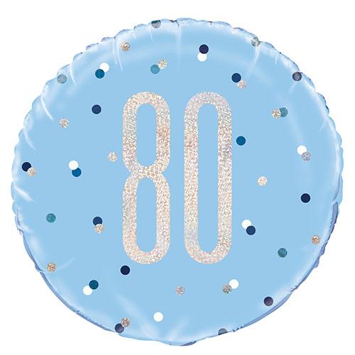 Blue Glitz Age 80 Holographic Round Foil Helium Balloon 46cm / 18 in