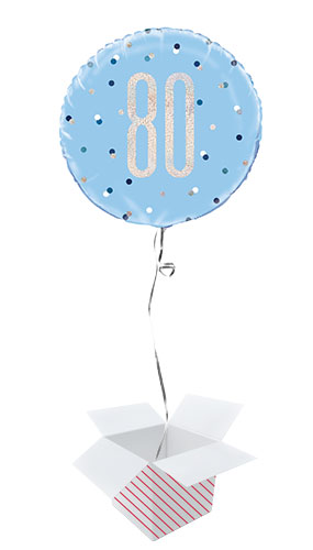 Blue Glitz Age 80 Holographic Round Foil Helium Balloon - Inflated Balloon in a Box