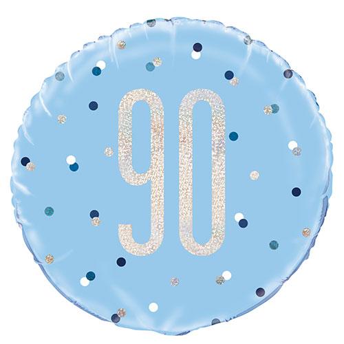 Blue Glitz Age 90 Holographic Round Foil Helium Balloon 46cm / 18 in