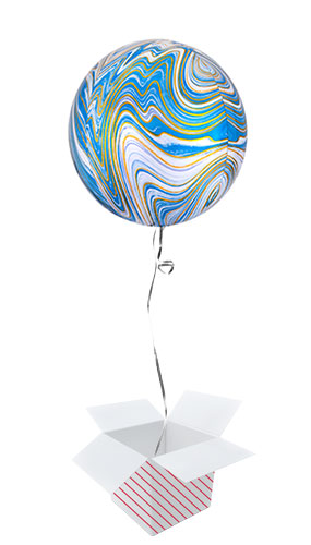 Blue Marblez Orbz Foil Helium Balloon - Inflated Balloon in a Box