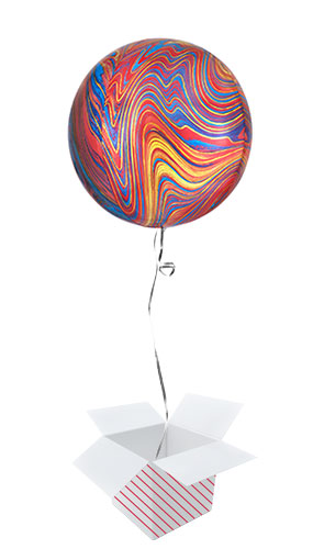 Colourful Marblez Orbz Foil Helium Balloon - Inflated Balloon in a Box