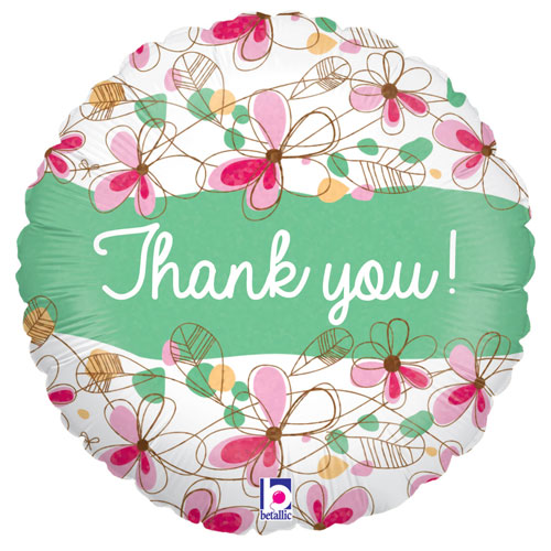 Floral Thank You Holographic Round Foil Helium Balloon 46cm / 18 in