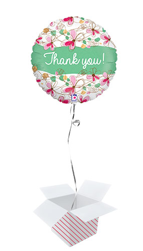 Floral Thank You Holographic Round Foil Helium Balloon - Inflated Balloon in a Box