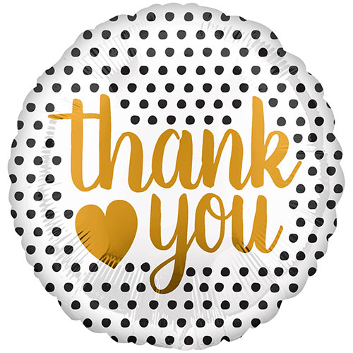 Gold Thank You Modern Dots Round Foil Helium Balloon 43cm / 17 in